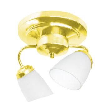 Luminária Plafon para Ventilador de Teto - Modelo Athenas2 Suporte em Metal Dourado c/2Soquetes p/2Lâmpadas - SEM TULIPAS