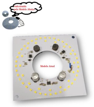 Placa de Led para Luminária do Ventilador Ventisol Flow - Fênix - Petit - Vórtice - Placa de Led 20w com Driver 100-240V Luz Branca 6500k