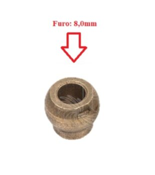 Bucha para Eixo Ventilador Britânia Nacional - Bucha de Bronze com Pescoço 8,0mm para Ventilador Arno / Ventilador Faet - Bucha p/Eixo 8,0mm