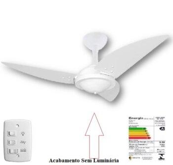 Ventilador de Teto Volare Premium Office 127v Branco - SEM Luminária Lustre Cego Indicado para Area Gourmet 3Pas MDF Iris Branca/Chave 3Velocidades *L