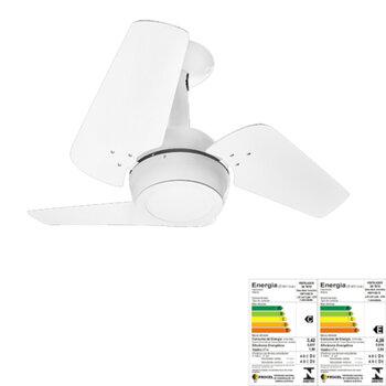 Ventilador de Teto Venti-Delta Loft Branco 127Volts 3Pás MDF Brancas Chave 3Velocidades 130w - Luminária Led 18w 6.000k Luz Branca