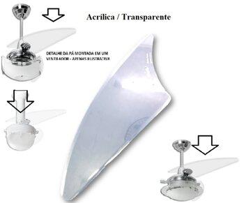 Pá Hélice para Ventilador Loren Sid M1/M2 - Modelo Facão Iris Transparente P07I/TR - Vendida p/Unidade
