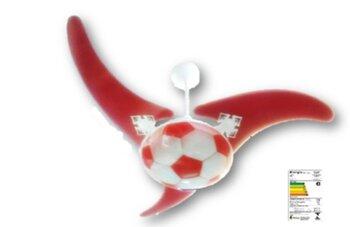 Ventilador de Teto Infantil Lustre Bola de Futebol Vidro 300mm Fosco c/Detalhes Vermelho - 3Pás MDF