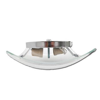 Luminária para Ventilador de Teto - Plafon Bruxelas Anti-Inseto Completo c/Suporte Cromado Vidro Quadrado Fosco Maior Borda Cristal e Vidro Menor