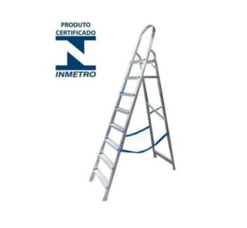 Escada de Alumínio 08 Degraus - Real Escadas - Escada Doméstica de Alumínio com Alça Longa para Melhor Apoio - Uso Residencial