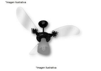 Ventilador de Teto Loren Sid Lumi M2 Motor Grande Preto 127v - 3Pás Acrilicas Tubarão Transparentes / Curva - Chave 3Velocidades