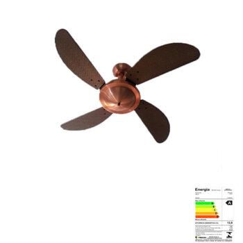 Ventilador De Teto Volare Office Cobre 127v 10,5uF 4Pás Ratan Fly Tuba Tabaco - Ventilador Volare - Ventilador para Área Gourmet - Lustre Cego