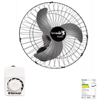 Ventilador de Parede 60cm Loren Sid M1 Bivolts 250w 08,5uF Preto - Chave Controle de Velocidade Rotativa - Hélice 3Pás