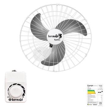 Ventilador de Parede 60cm Loren Sid M1 Bivolts 250w 08,5uF Branco - Chave Controle de Velocidade Rotativa - Hélice 3Pás