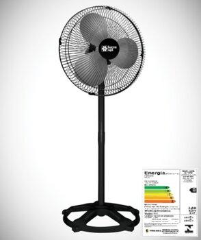 Ventilador de Coluna 40cm Loren Sid Turbo 127v 135w Preto - Hélice 3Pás - Grades/Colunas Metal Pretas - Controle de Velocidade Rotativo