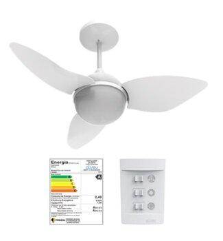 Ventilador de Teto Aliseu Smart 127v Branco 3Pás Chave 3 Velocidades Luminária p/2 Lâmpadas - Diâmetro Total 81,0cm