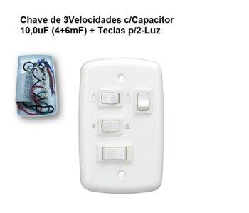 Chave para Ventilador de Teto Loren Sid 127V 3Vel Cap.3Fios 10,0uF (4,0+6,0mF) 2 Luz - Chave Venti-Delta - Ventisol MX - RioPrelustres - Arge