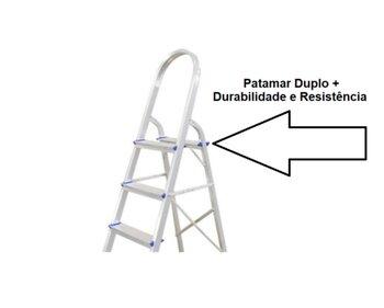 Escada de Alumínio 05 Degraus - Real Escadas - Escada Doméstica de Alumínio com Alça Longa para Melhor Apoio - Uso Residencial