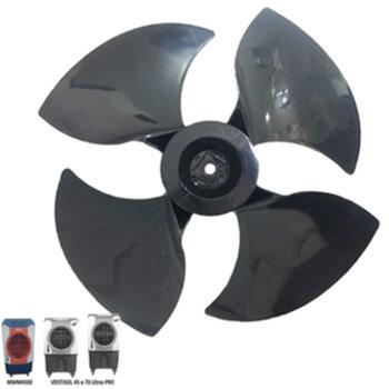 Helice para Climatizador MWM 41Litros M4500 - Climatizador Ventisol CLIPRO45 e CLIPRO70 - 4Pás Encaixe Ponta Redonda em Eixo 12,0mm c/Trava Traseira -