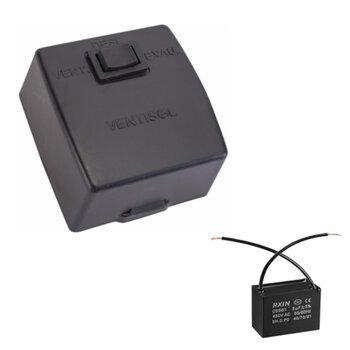 Chave para Exaustor Ventisol 30/40/50cm 220V 03,0uF 450VAC - 1Tecla Liga/Desliga/Reversão c/Caixa de Sobrepor Preta