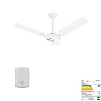 Ventilador de Teto Venti-Delta Comercial Delta Eco 127V10,0uF 130W Branco 3Pás Metal Brancas - Chave de Reversão - Campana Maior