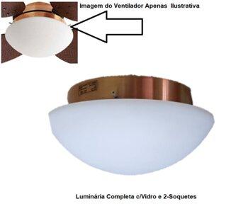 Luminária para Ventilador de Teto Volare VR42 cor Cobre - Luminária Completa Modelo Londres Plafon Cobre c/Vidro Fosco Curvo - c/Soquetes