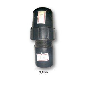 Porca Plástica Luva de Acabamento Externa c/Travante Interno da Coluna do Ventilador Venti-Delta Preto - Externo (Rosca 1/4 - Diâmetro 3,0mm)