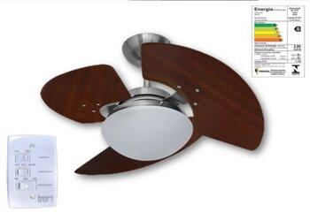Ventilador de Teto Tron Aventador Stilo 127v 130w cor Aco Escovado 3Pás MDF Tabaco Luminária Londres Chave 3Velocidades - Linha Máximo