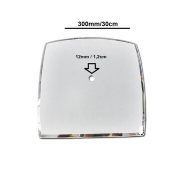 Globo Cupula Vidro da Luminária do Ventilador de Teto TRON - Globo Quadrimax 300mm 01Furo 12mm c/Borda Cristal - Apenas o Vidro