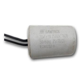 Capacitor de Partida para Portão Eletrônico - Capacitor de 20,0uF 2Fios 250VAC - Capacitor para Motor Elétrico - Motor de Portão de Elevação