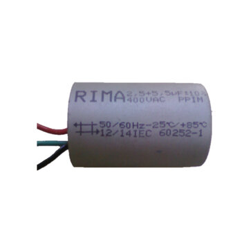 Capacitor de Partida Ventilador de Teto 3Vel 3Fios 08,0uF (2,5+5,5) 400VAC CAP008,0