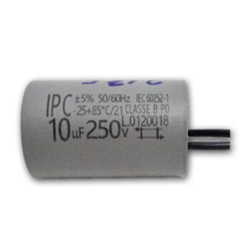 Capacitor para Ventilador de Teto 127V 10,0uF 250vac 2Fios de Saída - Capacitor Ventilador Venti-Delta Light Plus Super - Loren Sid 127volts