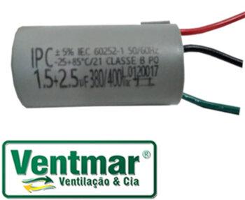 Capacitor para Ventilador de Teto Tron,220Volts 04,0uF 3Fios 1,5+2,5mF 380/400Vac - Loren Sid, Volare, Venti-Delta, Arge, etc. CAP004,0