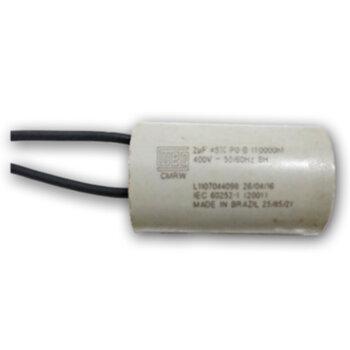Capacitor Permanente com Cabo 2Fios 2,0uF 400VAC - Capacitor para Ventilador de Teto 2uF CAP002,0