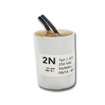 Capacitor para Ventilador de Teto Aliseu 127v 07,0uF 2Fios 250VAC - Capacitor de Partida 7,0uF 2Fios 250VAC