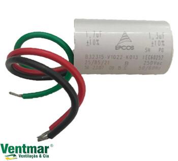Capacitor de Partida para Ventilador Venti-Delta Efyx Lunik 127Volts 03,0uF (1,3+1,7mF) 400Vac - c/Terminal Plug Lunik 127v CAP003,0