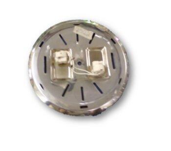Plafon Suporte da Luminária para Ventilador de Teto Latina AIR - Latina Air - Plafon de Metal Prateado c/2 soquetes p/Lâmpadas Halógenas