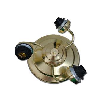 Luminária Plafon para Ventilador de Teto - Modelo Athenas3 Suporte em Metal Dourado c/3Soquetes p/3Lâmpadas - SEM TULIPAS
