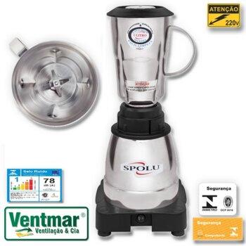 Liquidificador Alta Rotação Spolu 1 Litro 220v 800w - Liquidificador Industrial 1L Inox Spolu Gourmet Luxo Spl-021
