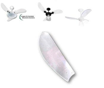 Pa Helice para Ventilador de Teto Venti-Delta New Ligh Clean Slim - ABS/Plástica Tubarao Transparente - p/Garra Pequena c/3 Furos - Vendida p/Unidade