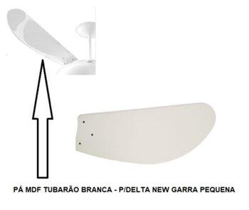Pá Hélice para Ventilador De Teto Venti-Delta New Light - MDF Tubarão Branca - p/Garra Pequena c/3 Furos - Vendida p/Unidade