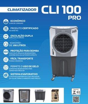 Climatizador de Ar Evaporativo Portátil 100Litros 220v210w Vazão 5.500m3h - p/Área Até 60m2 - Controle 3Velocidades - Ventisol CLIPRO100/CLI100PRO