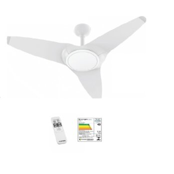Ventilador de Teto Ventisol Flow Branco 220v01,5/02,0uF 135w - Luminária LED20w - c/Controle Remoto - Super Silencioso CONSUMO A