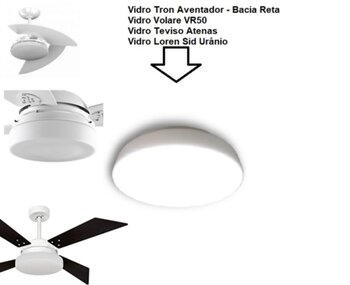 Globo Cúpula de Vidro Ventilador Tron Aventador - Vidro Londres Fosco Reto - Encaixe 245mm - para Treviso Atenas Tron Solano Loren Sid Uranio Volare V