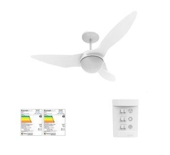 Ventilador de Teto Aliseu Terral 127v Branco 3Pas Chave 3 Vel Luminária p/2 Lâmpadas - Motor 150w Maior Ventilação + Silencioso