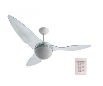 Ventilador de Teto Aliseu Terral 127v Cristal Luminária p/2 Lâmpadas Chave 3Velocidades - Motor 150W Maior Ventilação+Silencioso