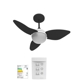 Ventilador de Teto Aliseu Smart 127v Preto 3Pás Chave 3 Velocidades Luminária p/2 Lâmpadas - Diâmetro Total 81,0cm