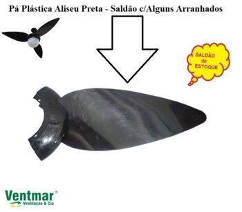 Pa Helice para Ventilador de Teto ALISEU Tradicional Preto Chapado - Plastica Preta - Vendida p/Unidade - Pa Aliseu Preta Chapada *SALDÃO*