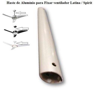 Haste para Fixar Ventilador de Teto SPIRT e ou LATINA - Medida 24cm Modelo Exclusivo para Ventiladores Latina / Ventiladores Spirit - Cor aluminio