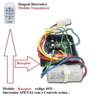 Módulo Receptor para Controle Remoto Latina 110v c/Cap 08,0uF Luz Azul + Base Preta - P/Ventilador de Teto Latina VT673/VT675 127Volts