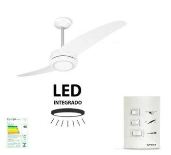 Ventilador de Teto Spirit 203 Branco LED 127V 2Pás Brancas Chave 3Velocidades com Luminária em LED6500k Luz Branca