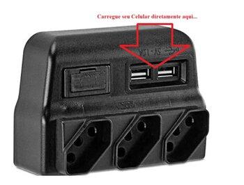 Protetor Elétrico 3 Tomadas 3p+T Bivolts Com 2 Carregador USB - Force Line/ForceLine
