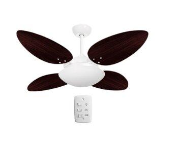 Ventilador de Teto Volare Londres 127v 10,5uF Branco 4Pas MDF Focus Pétalo Tabaco Luminária VR LUX VR42 P/2 Lâmpadas Chave 3Velocidades