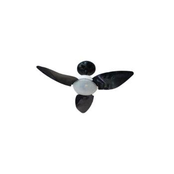 Ventilador de Teto Aliseu Smart 127v Preto 3Pás Chave 3 Velocidades Luminária p/2 Lâmpadas Halógenas (incluídas) - Diâmetro Total 81,0cm