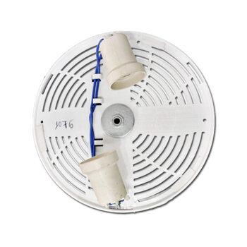 Plafon da Luminária Ventilador de Teto ALISEU Geo / Aliseu Smart Branco - Plafon Montado c/02 Soquetes + Nipel de Fixação - Suporte da Cúpula Plástica